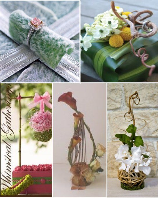 Porte alliances mariage composition florale beautiful for Decoration fausse porte mariage