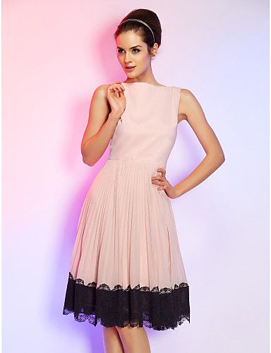 Homecoming Cocktail Party/Homecoming/Holiday Dress - Pearl Pink Plus Sizes A-line Bateau Knee-length Chiffon – CAD $ 111.19