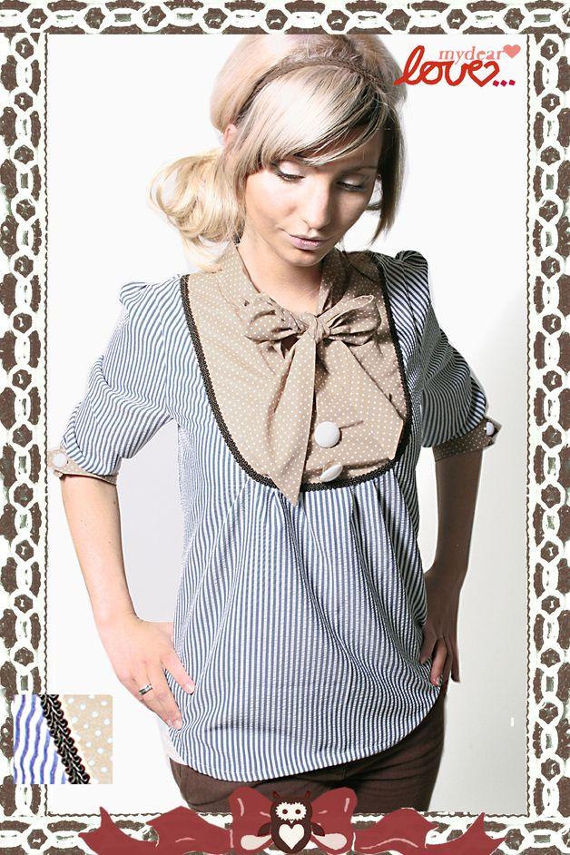 """Hemdblusen - Schluppen-Bluse """"Lola"""";Seersucker -Be... - ein Designerstück von mydearlove bei DaWanda"""