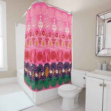 Lotus Block Pink Shower Curtain