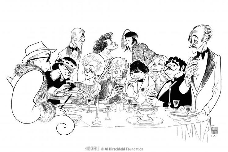 "Al Hirschfeld ~ Alec Guinness, David Niven, Elsa Lanchester, Peter Sellers, Peter Falk, Nancy Walker, Maggie Smith, Eileen Brennan, Truman Capote, Estelle Winwood, and James Coco in ""Murder By Death"""