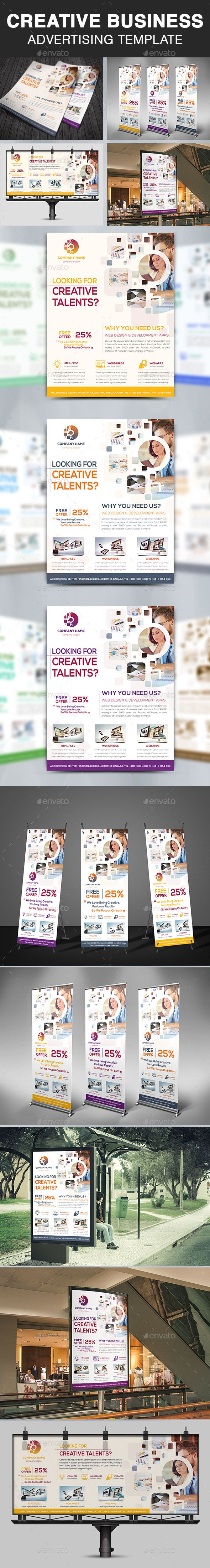 Creative Business Advertising Template #mobile app designer #agency  • Download here → https://graphicriver.net/item/creative-business-advertising-template/20823737?ref=pxcr