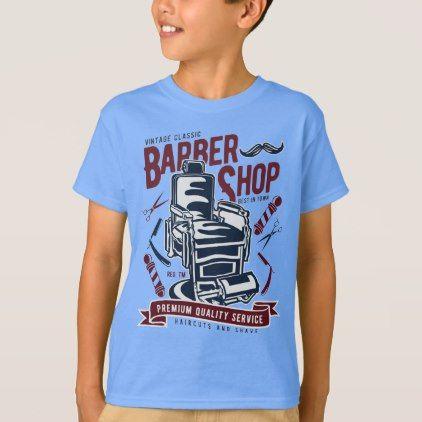 Vintage Barber Shop Kids' TAGLESS® T-Shirt - kids kid child gift idea diy personalize design