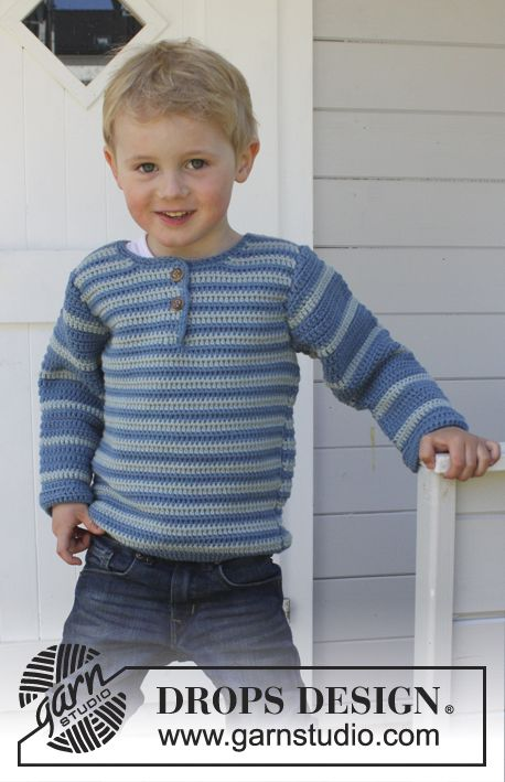 """Crochet DROPS jumper with vent and button band at the front of neck in """"Merino Extra Fine"""". Size 3 - 12 years. ~ DROPS Design"""