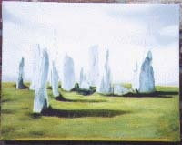 The Callanish Stones, Isle of Lewis, Scotland. Painting by R.Ross