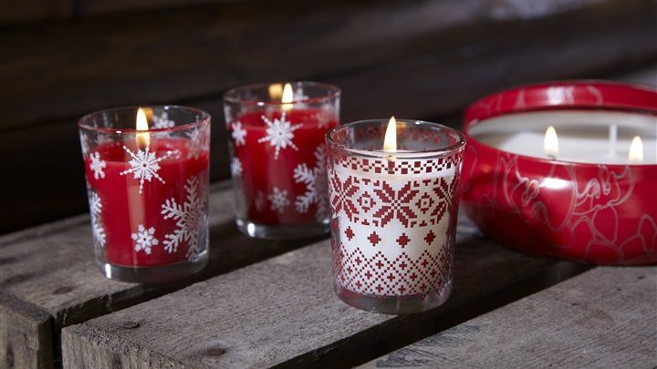 Primark Home - Pack of 3 Fairisle festive candles.
