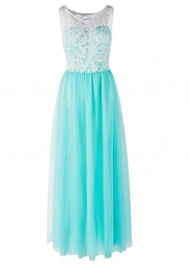 Lace Panel Gauze Turquoise Maxi Dress | modlily.com - USD $10.99