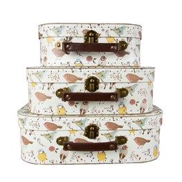Set of 3 British Birds Suitcases