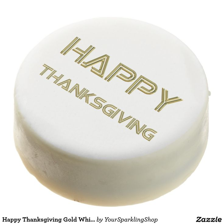 Happy #Thanksgiving Gold White Typography Elegant Oreo Cookies