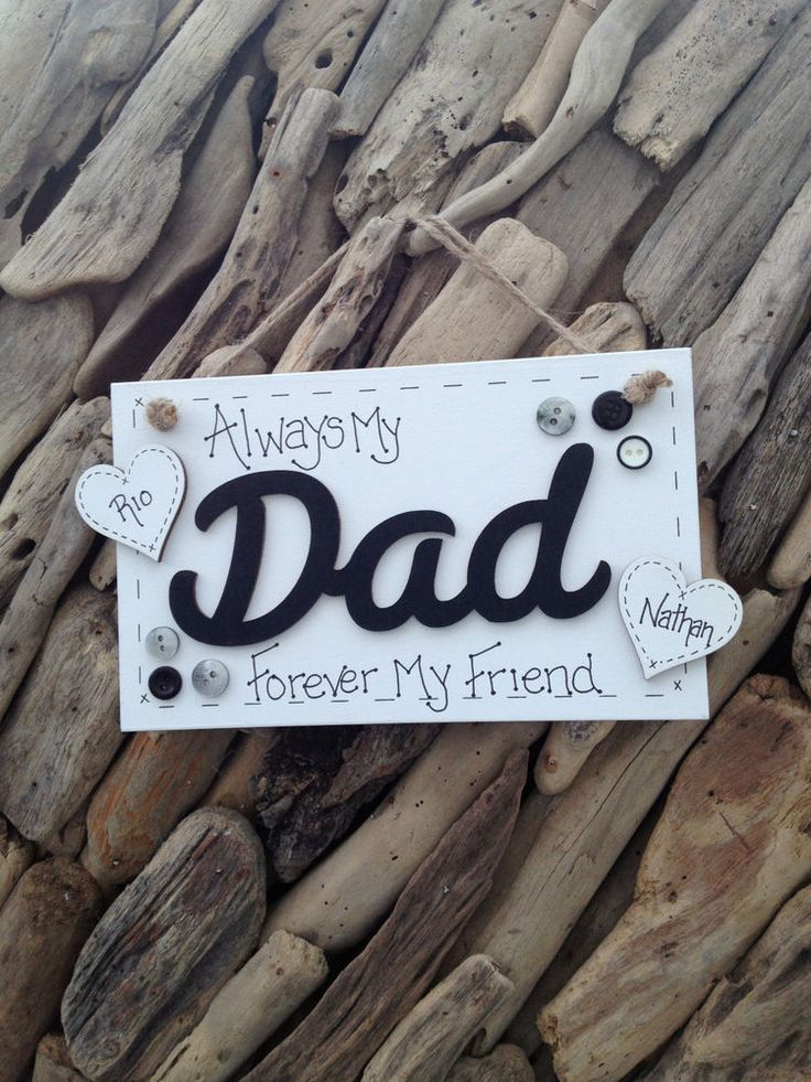 Father Personalised Plaque Sign for Dad Ideal Gift From Kids Names on Hearts