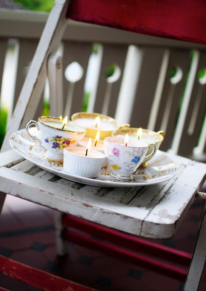 Collect little pots, ramekins, egg cups, soufflé molds or vintage teacups found at thrift shops to house the wax (as long as they are heat resistant). I personally love the teacups. Different sizes and shapes clustered together complement each other as a centerpiece.Craftsman  by Go Make Me