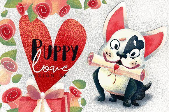 Puppy love. Valentine's Day clipart , #valentinesday, #clipart , #creativemarket