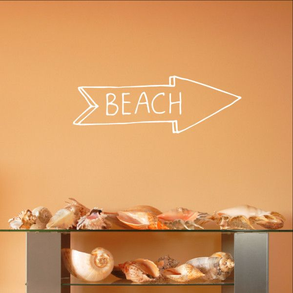 Beach Arrow Chalkboard Style Sign Vinyl Wall Decal 22582 #beach #arrow #walldecals