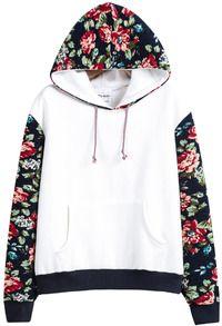 Sudadera con capucha contraste floral manga larga-blanco