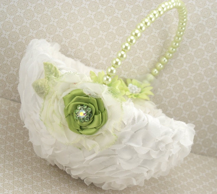 Flower Girl Baskets Green : Flower girl basket bridal in ivory and lime green