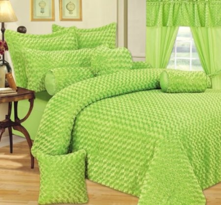 Amazon.com: Super Soft 3pcs Lime Green Twisted Rose Fur Comforter & Sham Set Queen or Full: Home & Kitchen