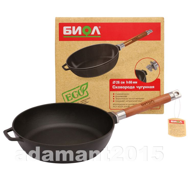 CAST IRON FRYING PAN profound  Biol removable handle 260mm чугунная сковорода
