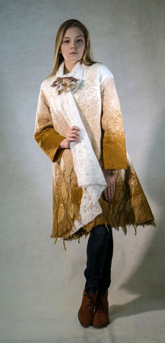 Womens short coat with textile brooch clasp cappuccino