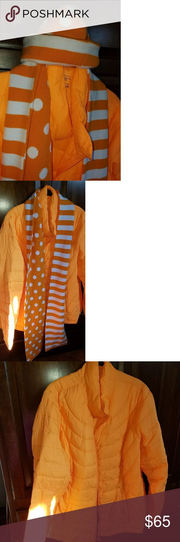 Lane Bryant Packable Jacket w/Scarf & Hat Very cute Orange ski inspired jacket w/ 2 inside pockets, matching reversible hat and scarf Lane Bryant Jackets & Coats Puffers