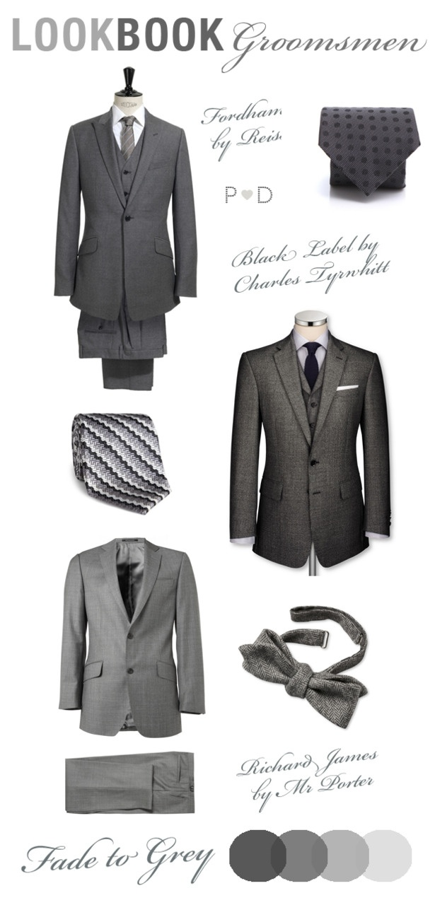 grey suit for the man.