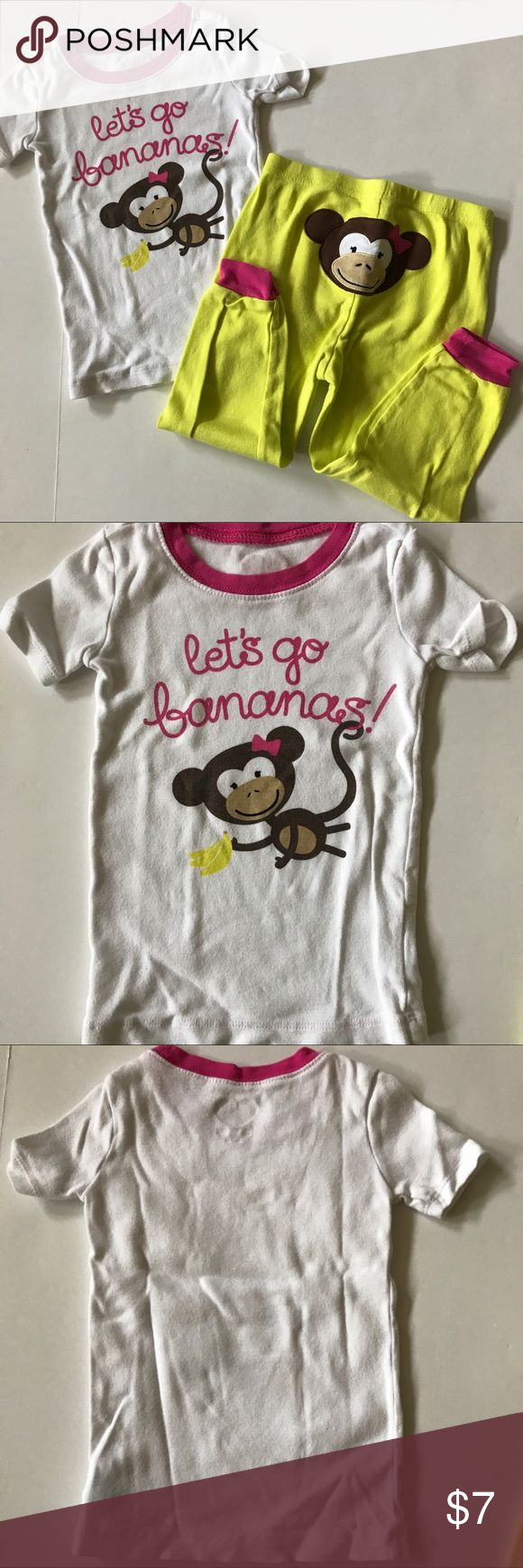 Children's Place short sleeve pjs Children's Place short sleeve pjs - top is white with pink trim and a monkey on front that says let's go bananas. Bottoms yellow with pink trim & a monkey on back behind.  Shows wash wear & children's place heart on inside has worn off. Children's Place Pajamas Pajama Sets