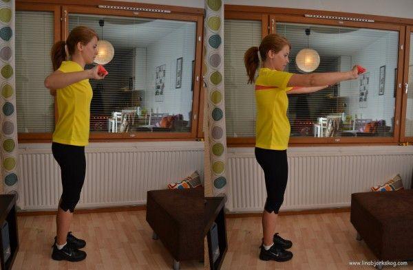 träning hemma, bl.a. bänkpress med gummiband
