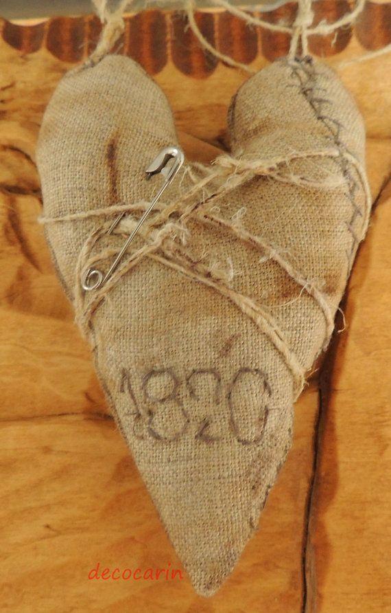 Cuore primitivo, primitivo Decor, cuore di lino Vintage ispirato Home Decor decorazioni ornamenti, decorazioni primitivi, primitivi ornamenti
