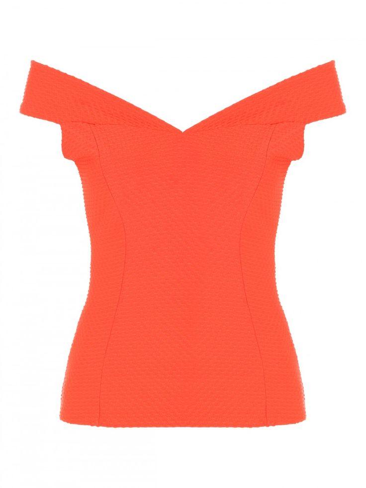 Orange Textured Bardot Top | Jane Norman