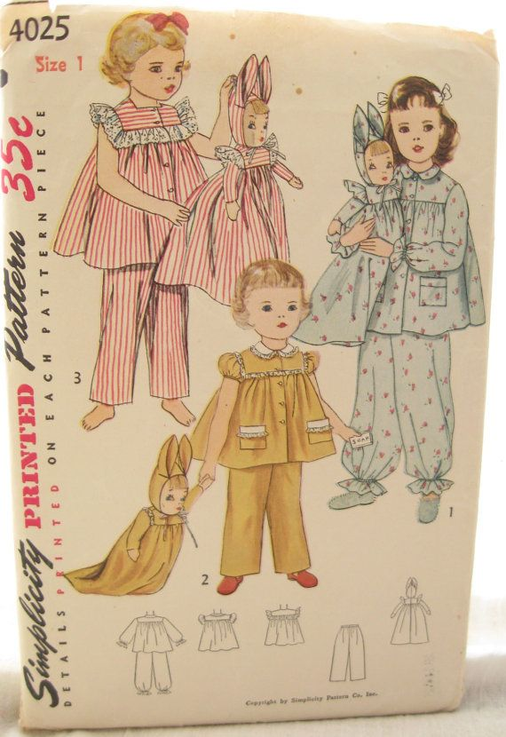 Simplicity 4025 Childrens 1950s Pajama Shirt and Pants and Laundry Bag Sewing Pattern Size 1