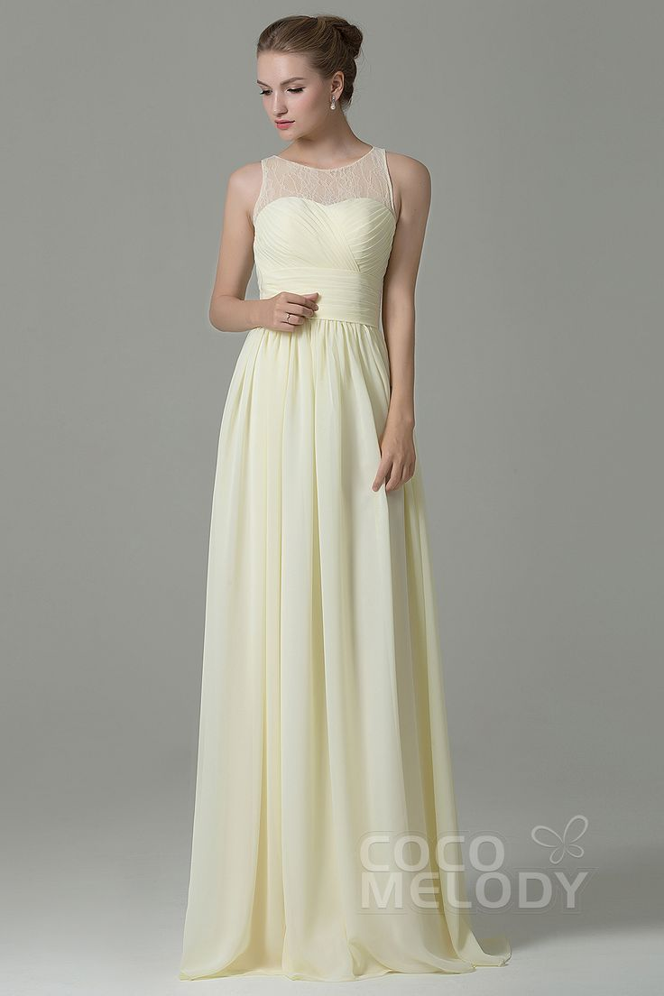 Hot Sale Sheath-Column Illusion Natural Floor Length Chiffon Light Yellow Sleeveless Zipper Bridesmaid Dress COZK16005