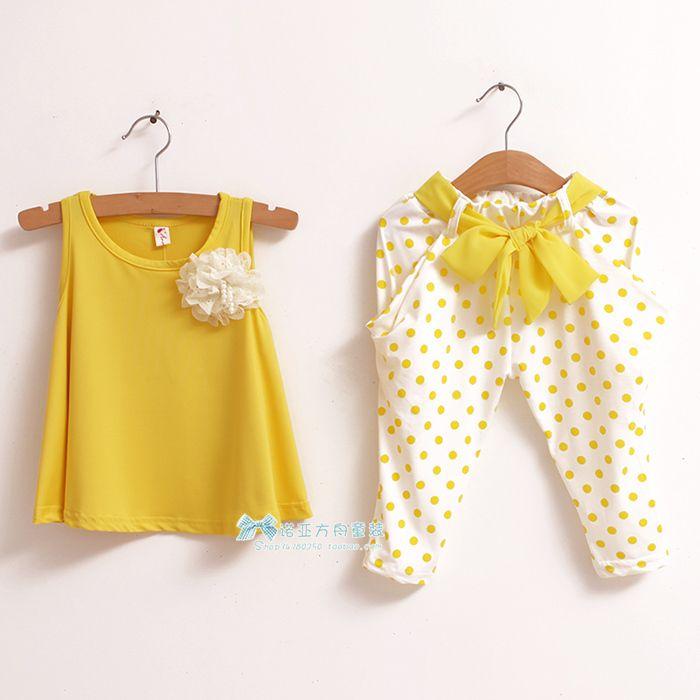 2014 New Childrens Clothing Summer Set Child Flower Female Vest Polka Dot Harem Pants Kids Clothes Girls Clothing Sets Us 8 70 M Pinterest Baby