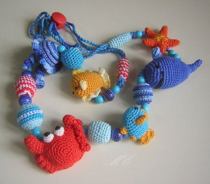 Sea life crocheted necklace