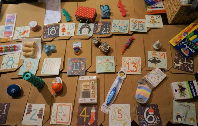 DIY advent calendar for toddler and kids and its content... inspiration for what to put inside the packages.