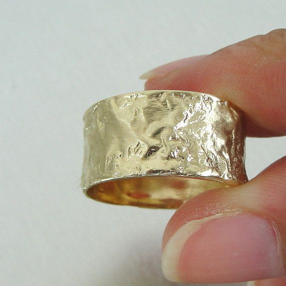 Gold ring wide wedding band polished textured for by HadarWeddings