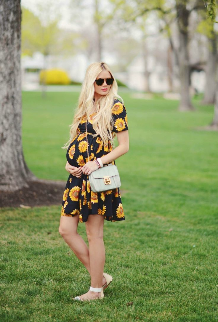 Sunflower dress with baby bump