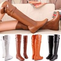 Wish | The new high-quality women knee boots leather motorcycle boots tall canister long autumn and winter warm flat snow boots womens shoes big size 34-43