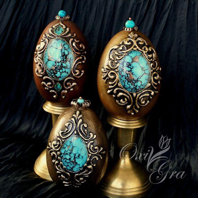 #oxigra #egg #handpainted #ornament #turquoise #brown #pisani #wydmuszki #jajka #gesie #recznie #malowane #turkus #brąz #zloto #reliefy #ornamenty