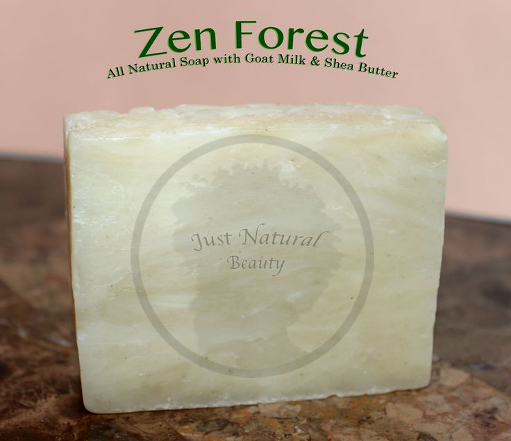 """Zen Forest Soap: Zen Forest is a certified natural fragrance with deep foresty notes and floral top notes for an uplifting, fresh """"Zen-filled"""" aroma. INGREDIENTS: Olive Oil, Coconut Oil, Water, Sodium Hydroxide, Organic Palm Oil, Fresh Goat Milk, Organic Sunflower Oil, Shea Butter, Natural Fragrance. (All Natural Soap)."""
