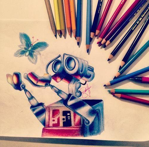 Disney Wall e Colored Pencil Drawing Artsy Pinterest