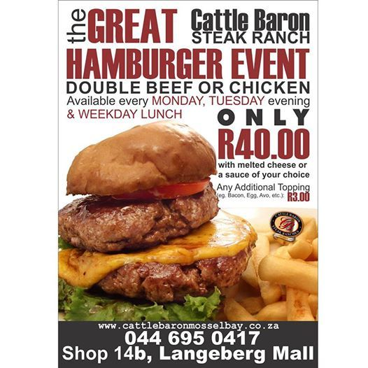 As it is a public holiday again today, there is more than enough time to visit us at the Cattle Baron for one of our specials on offer. Try our Magnificent Hamburger Event for only R40.00, available in beef or chicken. #steakhouse #cuisine #menuspecials