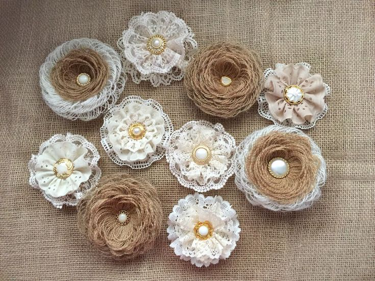 A personal favorite from my Etsy shop https://www.etsy.com/listing/549294327/burlap-lace-flowers-handmade-flowers