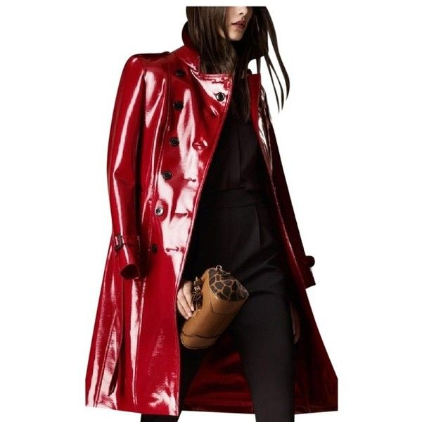 Burberry London Long Patent Finish Trench Coat ($1,196) ❤ liked on Polyvore featuring outerwear, coats, red double breasted coat, patent leather trench coat, burberry trenchcoat, double-breasted trench coat and collar coat