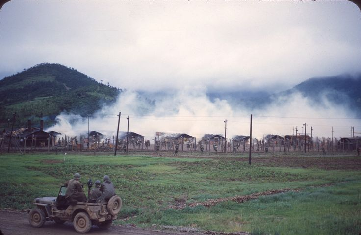 Tear gas is used to evict anti-communist POWs from their dwellings at Geoje POW Camp. Geojedo Korea. 1953 [2048x1335] http://ift.tt/2hj82Bz