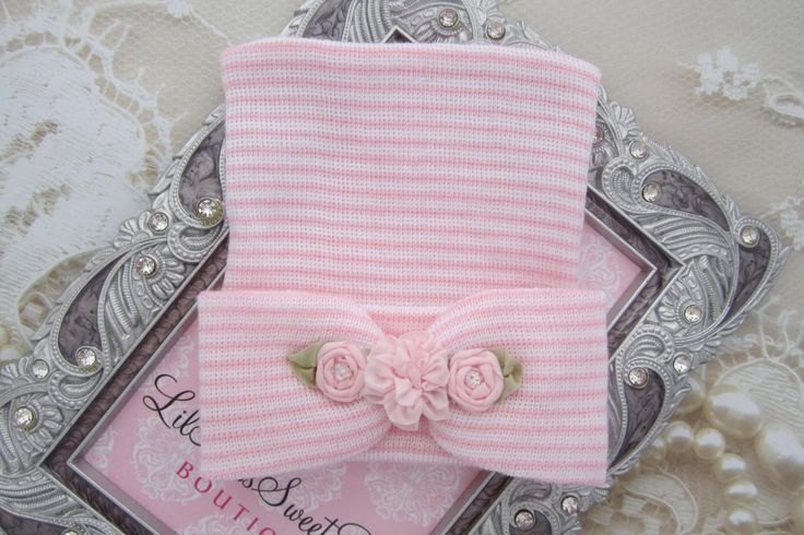 Newborn Hospital Hat, Pink & White Stripe, Bow and Satin Ribbon Roses, baby hat, take home hat, hospital, hat by Lil Miss Sweet Pea Boutique