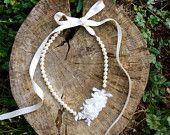 Bridal pearl necklace with lace and silk organza flowers, wedding accessory *made to order*