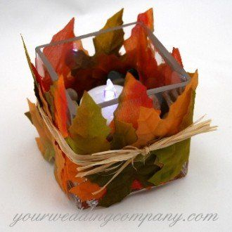 tie leaves around a clear glass: Ideas, Fall Leaves, Fall Decor, Autumn Leaves, Decoration, Candles Holders, Fall Wedding Decor, Fall Candles, Centerpieces