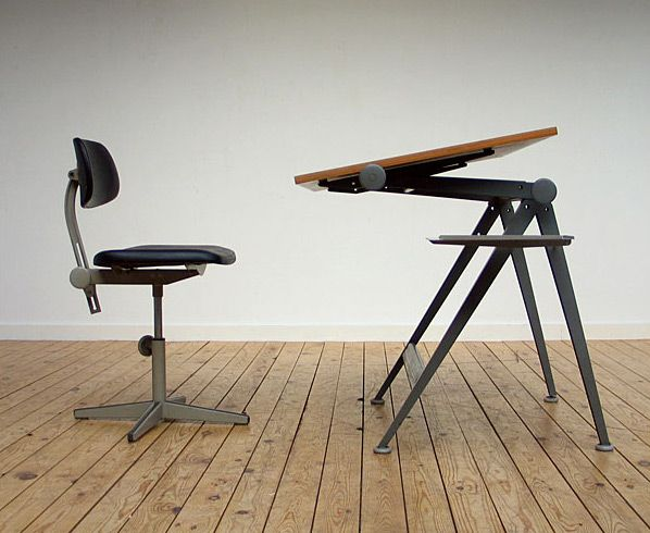 Friso Kramer Industrial drafting table and chair 1954. Modern online gallery. Featuring a varied selection of vintage industrial and architect furniture. At http://www.furniture-love.com/vintage/industrial/