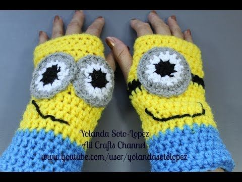 Free Crochet Pattern Minion Mitts : #Crochet Wristers / #Fingerless Gloves inspired by ...