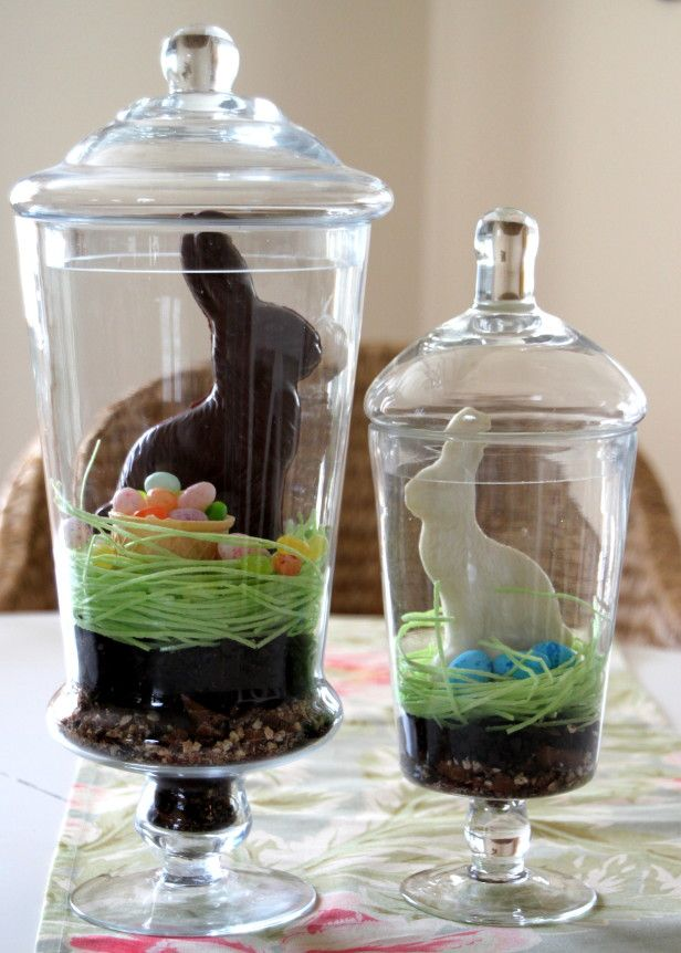 Easy DIY Edible Easter Terrarium!: Edible Terrarium, Easter Crafts, Easter Terrarium, Easter Bunnies, Easter Decor, Holidays Decor, Edible Easter, Chocolates Bunnies, Easter Ideas