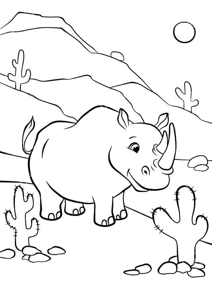 Baby Rhino Coloring Page. Rhinoceros are large mammals